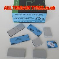 Plastic Coated Adhesive Wheel Weights - 10g (25)